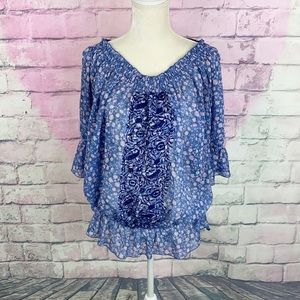 Free people semi sheer embroidered peasant blouse